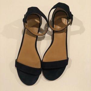 J. CREW. Navy Suede Ankle Strap Sandals.